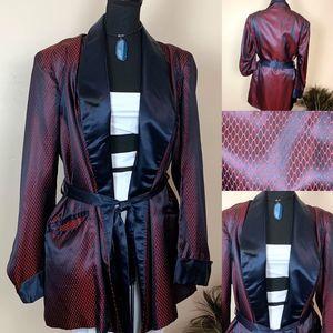 Vintage Red & Black Satin Tuxedo Smoking Jacket